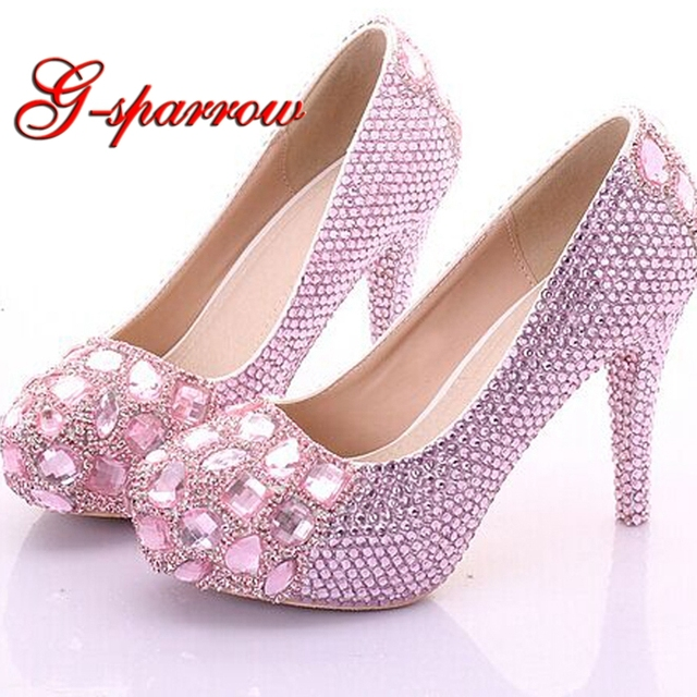 462a9f055b1535 2018 Customized Pink Crystal Birthday Party Shoes 4 Inches High Heel  Cinderella Prom Pumps Wedding Bridal Dress Shoes Large Size