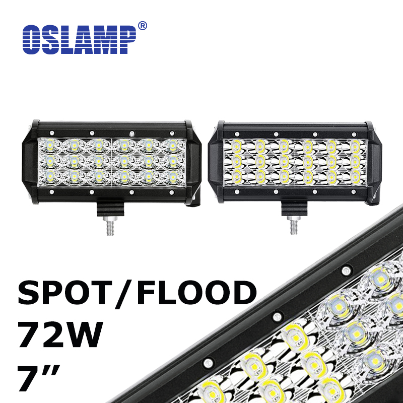 ФОТО Oslamp 2x 72W 7inch CREE Chips Flood/Spot LED Work Light 12V 24V 6000K Led Auto Lamp for Car SUV ATV RZR Wagon Camper Head Light