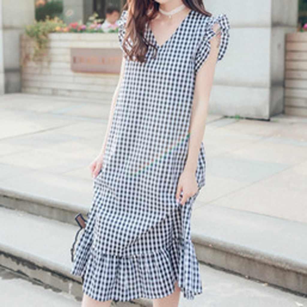 משלוח יען נשים שמלה משובץ Loose V-צוואר קצר פרע שרוול חמוד אמצע עגל אופנה מגמת אלגנטי קיץ ארוך שמלה