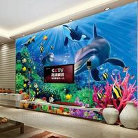 New custom Dolphin 3d large mural frescoes photo cartoon living room sofa children room wall paper wallpapers TV backdrop