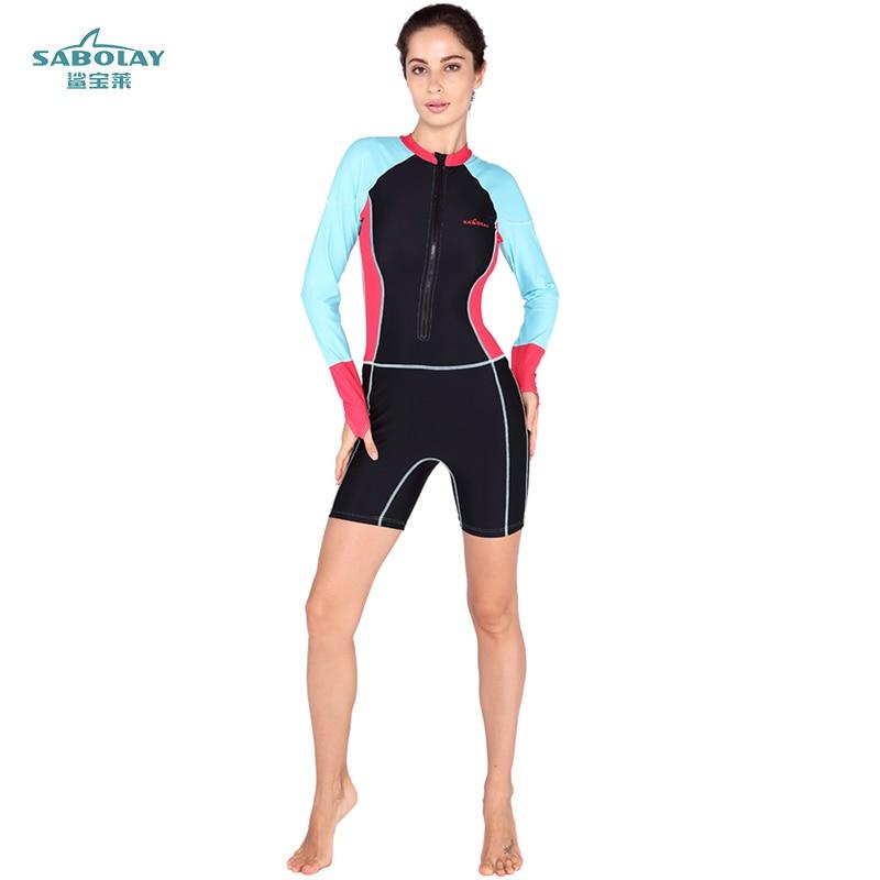 SABOLAY Anti-UV Lycra long Sleeve Triathlon Wet suit Women Surfing Wet Suit for Swimming Diving Skin Equipment Swimsuit