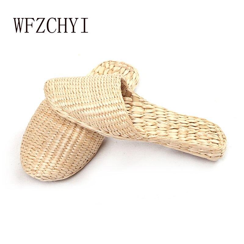 Wicker shoes Summer women slippers fashion straw sandals ultra light casual women's flip flops non-slip beach flats shoes