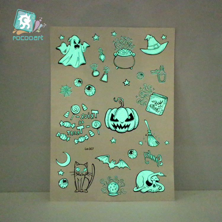 Luminous Horror Body Art Tatoo For Halloween Day Glowing in the dark Paint Temporary Tattoo Stickers