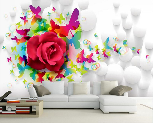 Beibehang Wallpaper Bright New Trend Erfly Rose Living Room Tv Sofa Background Wall Interior