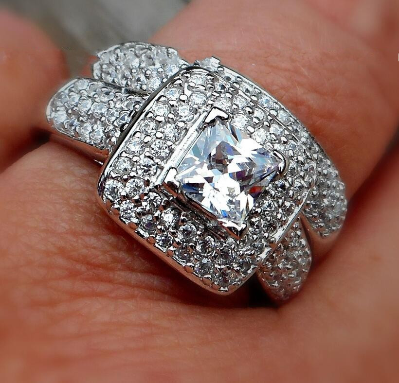 Majestic Sensation jewelry Womens 2ct Simulated Diamond 134pcs CZ Paved 14KT white gold Plated Wedding Ring Sets Size 5-10