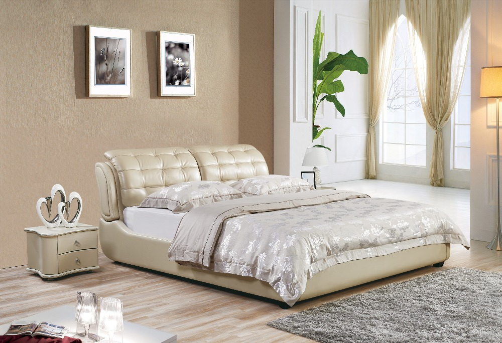 Muebles Para Casa Modern Bedroom Furniture 2016 Promotion Time-limited King No Genuine Leather Soft Bed Muebles Sofa Beds simple leisure contemporary modern leather bed king size bedroom furniture made in china