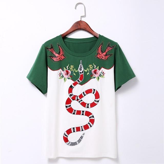 2017 Nueva Llegada Del Verano Del Cuello de O de Manga Corta Flor Serpiente Bordado Camiseta Rivet Camiseta de Garantía de Calidad de Lujo MS797