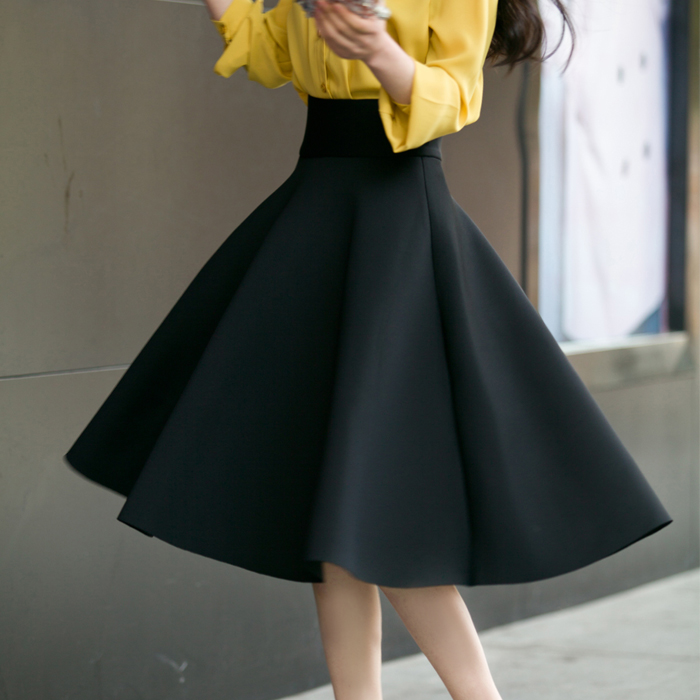 Image 5 - 5XL Plus Size Skirt High Waisted Skirts Womens White Knee Length Bottoms Pleated Skirt Saia Midi Pink Black Red Blue 2019-in Skirts from Women's Clothing