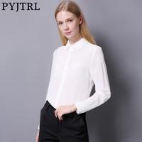 PYJTRL 2017 Autumn New Female 100 Real Silkworm Silk Fashion Pure Color Long Sleeve Shirt Black