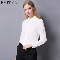 PYJTRL 2017 Autumn New Female 100 Real Silkworm Silk Fashion Pure Color Long Sleeve Shirt Black