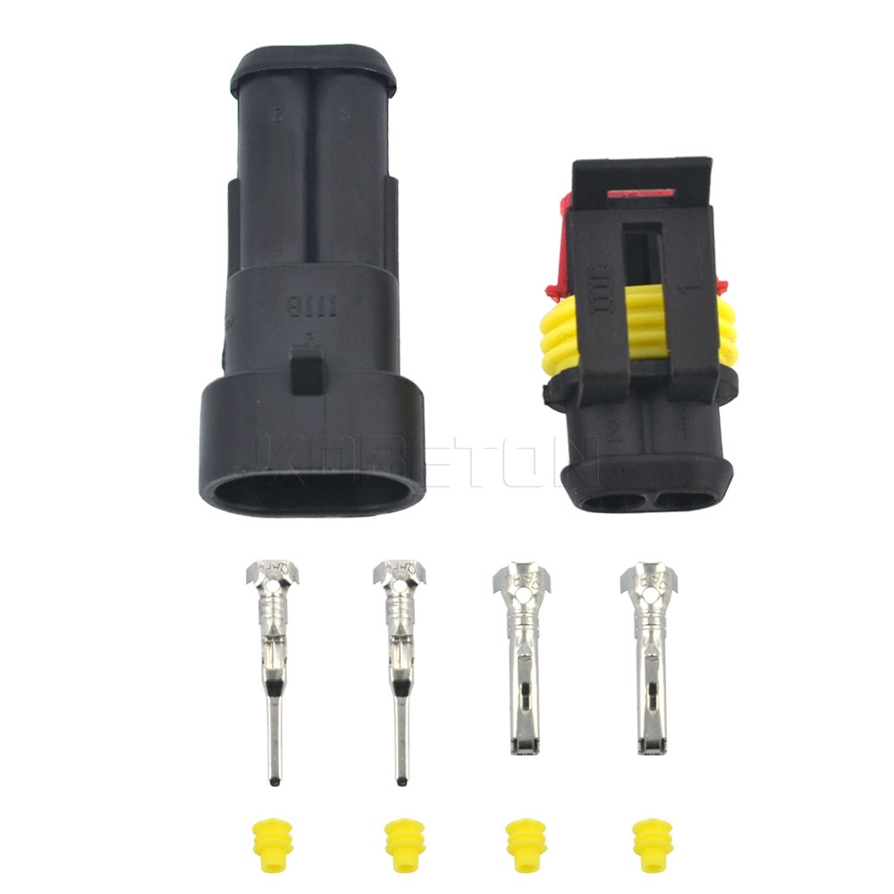 5 Sets Car 2 Pin Way Amp Seal Waterproof Connector 2p Plug Automotive Wiring Electrical Wire Auto Xenon Lamp Motorcycle Hid In Cables Adapters Sockets