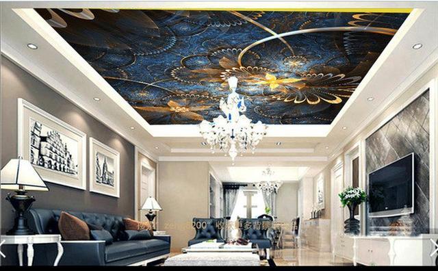 Customi 3d photo wallpaper 3d ceiling wallpaper mural Blue gold flower prosperous European condole top 3d