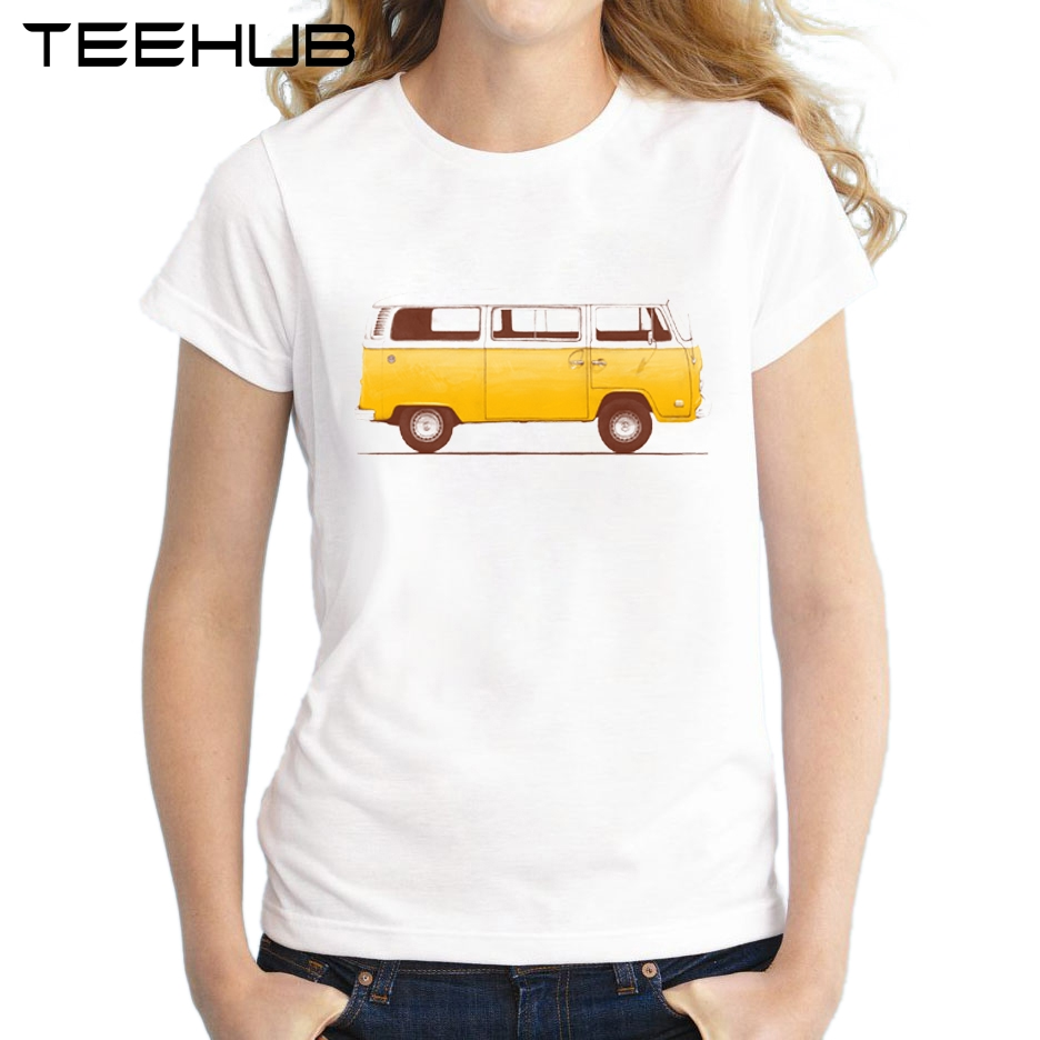 2017 Fashion Van Design Women T Shirt Short Sleeve Lady Summer Tops Novelty Yellow Bus Printed