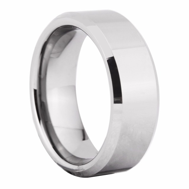 8MM Width Shiny Bevel Custom Ring Blank Ring Men's Fashion Tungsten Wedding Ring