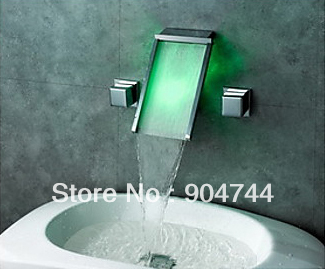 led wall concealed water slide double handles water fall bathroom