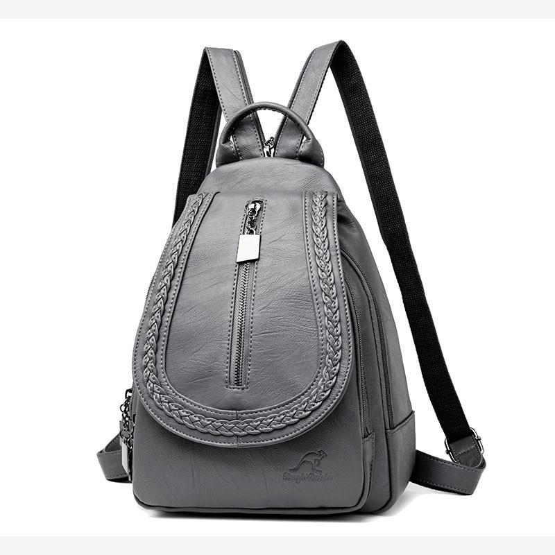 HTB1vMs9llsmBKNjSZFFq6AT9VXaP Women Leather Backpacks Zipper Female Chest Bag Sac a Dos Travel Back Pack Ladies Bagpack Mochilas School Bags For Teenage Girls