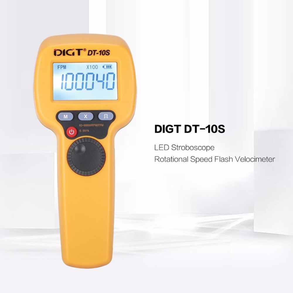 DIGT DT-10S 7.4V 2200mAh 60-49999 Strobes/min 1500LUX Handhold LED Stroboscope Rotational Speed Measurement Flash VelocimeterDIGT DT-10S 7.4V 2200mAh 60-49999 Strobes/min 1500LUX Handhold LED Stroboscope Rotational Speed Measurement Flash Velocimeter