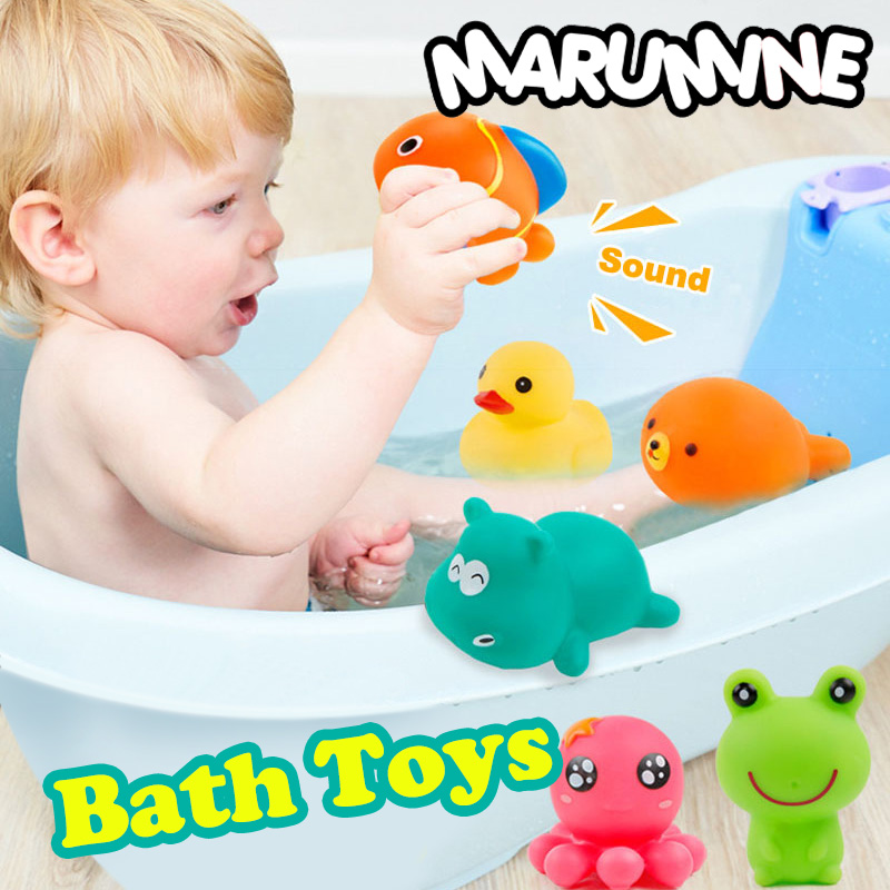 Bath Toy Toys & Hobbies Amicable Marumine 5pcs Baby Bath Toys Water Soft Pvc Kids Bathing Toys With Sound Duck Fish Shape Best Summer Gift For Children