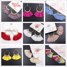 Купить с кэшбэком Heat Tassel Earrings For Women Ethnic Big Drop Earrings Bohemia Fashion Jewelry Trendy Cotton Rope Fringe Long Dangle 17 Colors