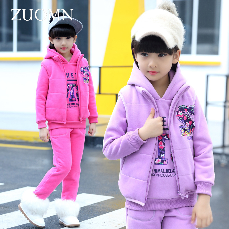2016 Winter Baby Girls Clothes Sets Children Cotton Coat+Waistcoat+Pants Kids Bottom Warm Outerwear Suits Clothing GH282 2017 winter baby coat kids warm cotton outerwear coats baby clothes infants children outdoors sleeping bag zl910