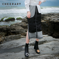 Cheerart Houndstooth Long Skirt Womens Ladies Split Skirt Reversible High Waist Skirt Straight Designer Skirts With Pockets