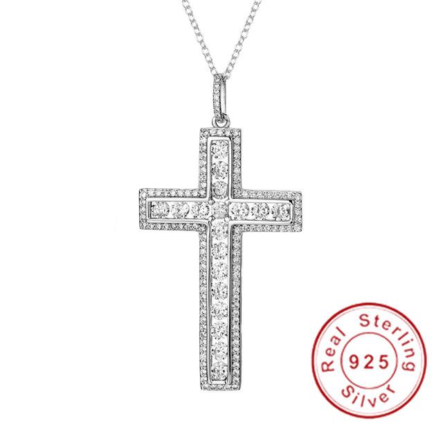 New 925 Silver Exquisite Bible Jesus Cross Pendant Necklace for women men Crucifix Charm Simulated Platinum Diamond Jewelry N024