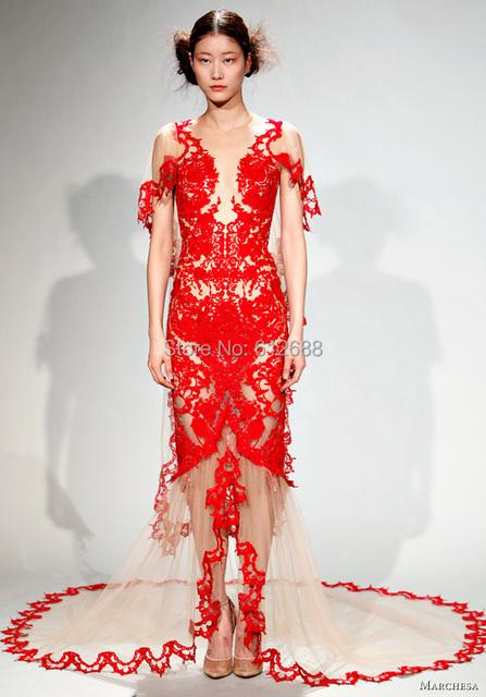 Moda Vestido De Encaje Rojo Una Línea Illusion Cap Manga Hundiendo V-cuello Delantero de Split Cremallera Volver Encaje Sexy Tren Vestidos de La Celebridad 2016