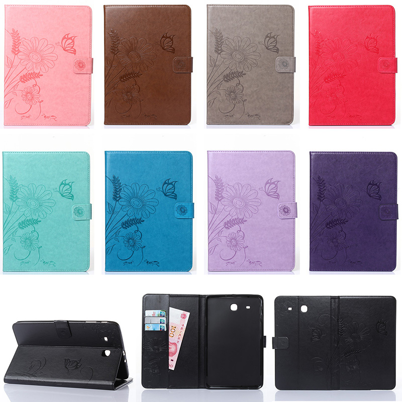 Fashion Flower Butterfly Ant Pattern Wallet Flip PU Leather Tablet Back Cover For Samsung Galaxy Tab E 9.6 T560 T561 Case Funda
