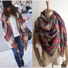 WJ04 Imitation Cashmere Star Style Cape Plaid Blanket Tartan Scarf 2014 Autumn Winter Scarves Women Brand Shawls Free Shipping