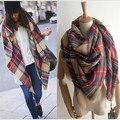 Wj04 imitación de la cachemira de estilo estrella de cabo tela escocesa de tartán manta bufanda 2014 otoño invierno de mujer de marca chales envío gratis