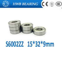 Free shipping S6002ZZ (10PCS) 15*32*9mm Stainless Steel Ball Bearing 15x32x9mm 6002ZZ S6002 ZZ for bicycle part Brand New