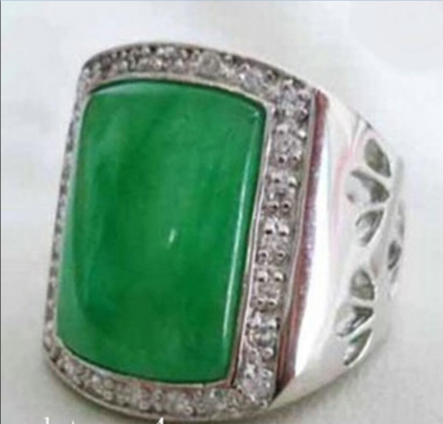 men/'s beautiful tibet silver green jade ring
