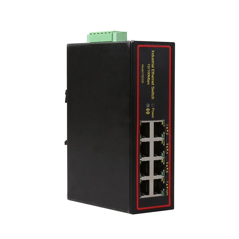 Industrial 8 port ethernet LAN switch 100M DOUBLE DC POWER high and low temperature SURGE PROTECTION