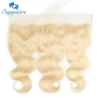 Sapphire Body Wave Malaysian Human Hair 13 4 Lace Frontal With Baby Hair 613 Light Blonde