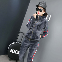 Quality Europe jinsirong suit female cashmere thickening personality fashion casual sportswear hooded + elastic waist pant set