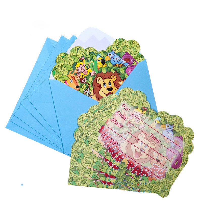 6pcspack jungle party happy birthday party decoration kids boy 6pcspack jungle party happy birthday party decoration kids boy girl event supplies favors invitation cards stopboris Images