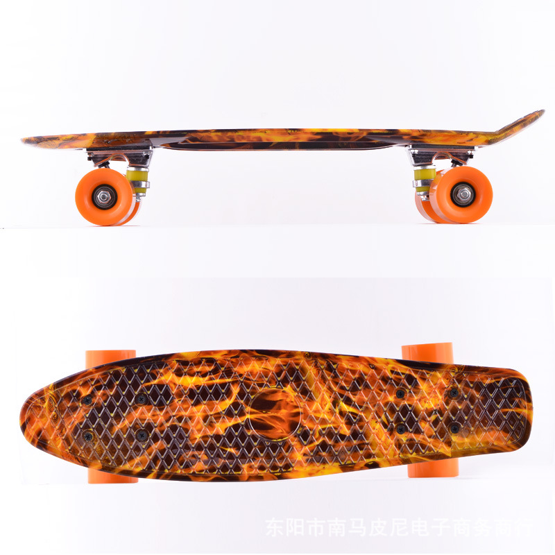 ФОТО Free Shipping Children's scooter Space Graphic Printed Mini Cruiser Plastic Skateboard 22
