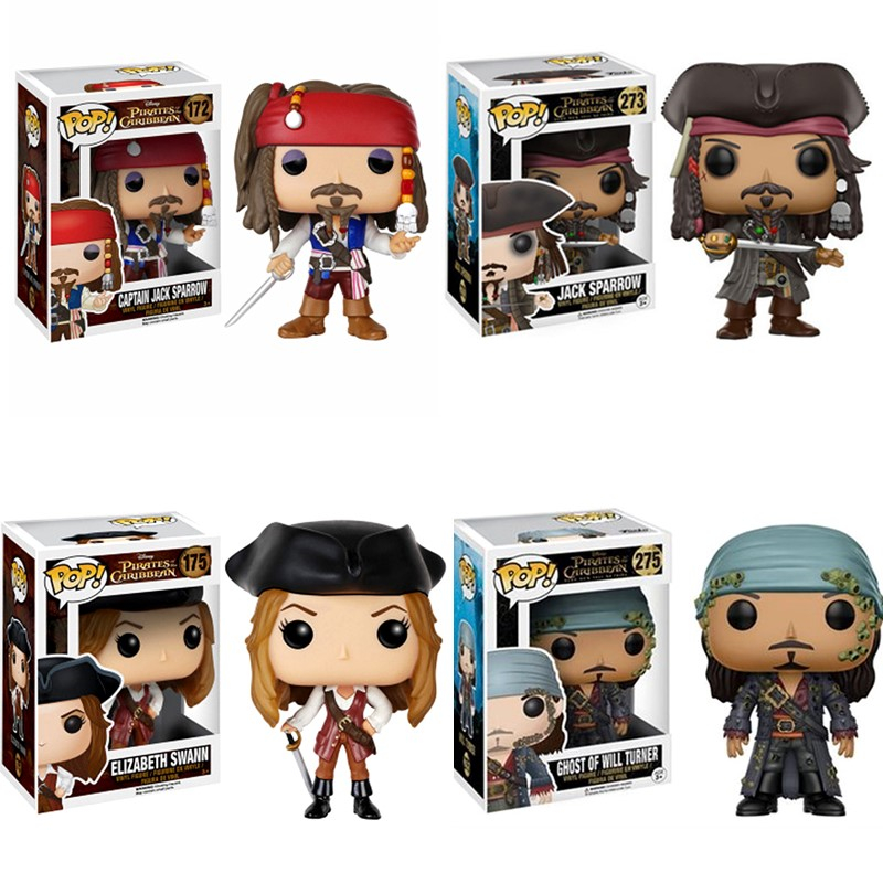 Funko POP Pirates of the Caribbean Captain Jack Sparrow Salazar Ghost Of Will Turner Elizabeth Swanm Action Figures Model ToysFunko POP Pirates of the Caribbean Captain Jack Sparrow Salazar Ghost Of Will Turner Elizabeth Swanm Action Figures Model Toys