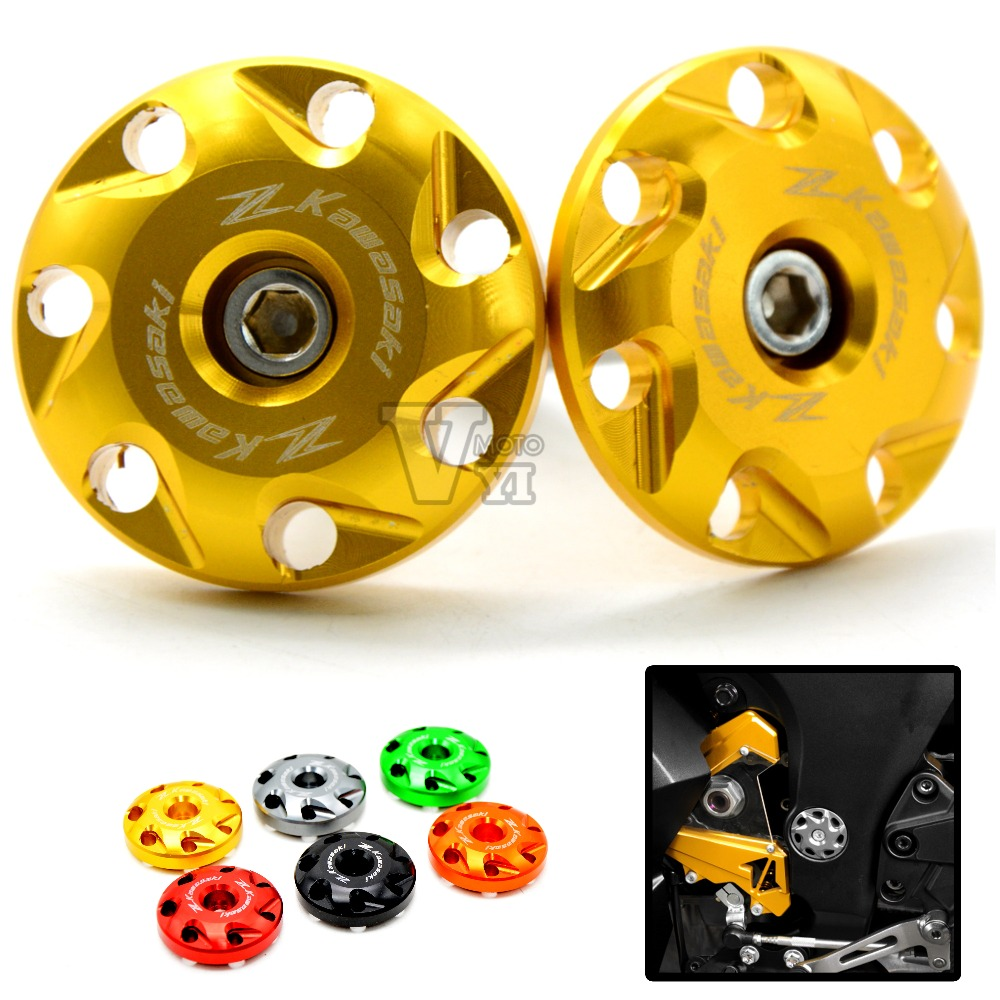 cnc aluminium Motorcycle Accessories Frame Hole Cap Cover Plug For kawasaki z1000 2010 2011 2012 2013 2014 2015 gold