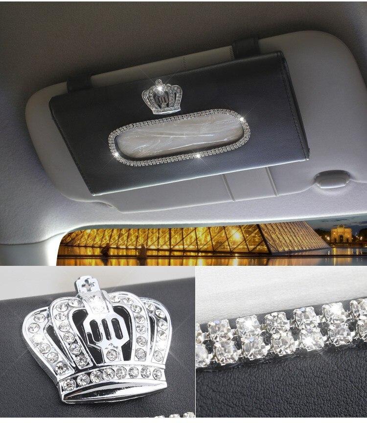 Car Sun Visor Crystal Rhinestones Crown Tissue Box