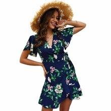 BONJEAN Womens new summer V-neck temperament commuter dress