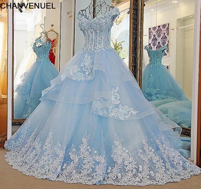 LS33870 Bling Brautkleider A Line Sicke Lace Up Zurück Ivory und Blau Organza Hochzeitskleid 2018 Robe De Mariage