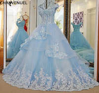 LS33870 Bling Bridal Gowns A Line Beading Lace Up Back Ivory And Blue Organza Wedding Dress
