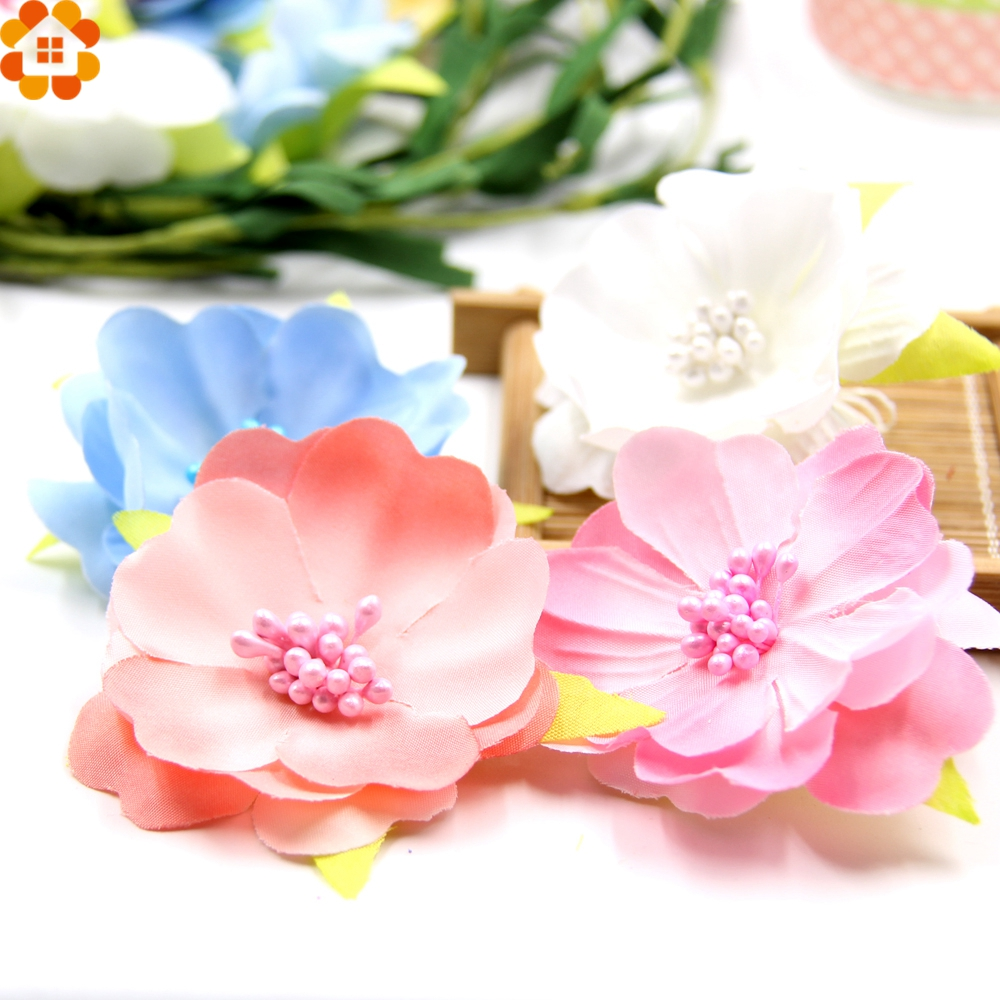 10pcs Artificial Flowers Slik Flower Heads Stamen Wedding Party Decorations DIY Wreath Scrapbooking Craft Craft Fake Flowers