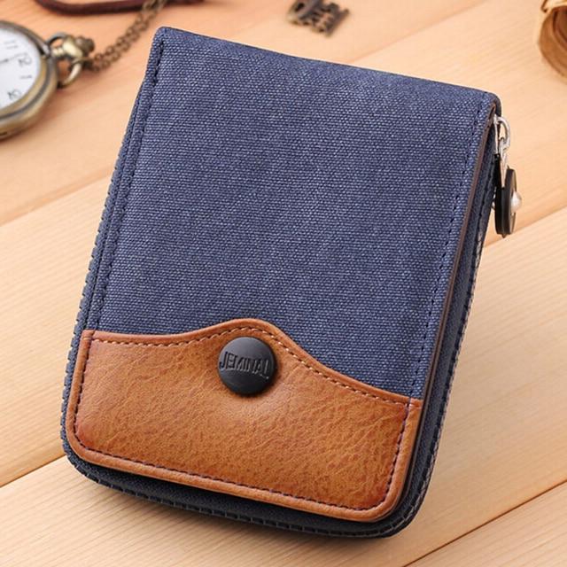 e4c3bfea5 Nueva tela de mezclilla de moda corto billetera hombres cartera de gran  capacidad de doble monederos