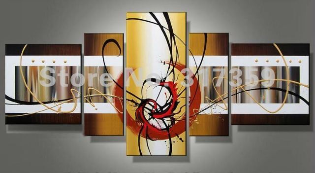 Free shipping abstract canvas art 5pc/set red oil paintings No framed acrylic paintings art