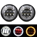 (Pack of 2) 4.5 Inch LED Passing Fog Lights With Red Demon Eyes/White DRL /Amber Turn Signal Halo for Harley Davidson Motorcycle