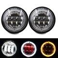 (Paquete de 2) 4.5 Pulgadas LED Paso Luces Antiniebla Con Red Demon Eyes/DRL Blanco/Ámbar Señal de Vuelta de Halo para Harley Davidson
