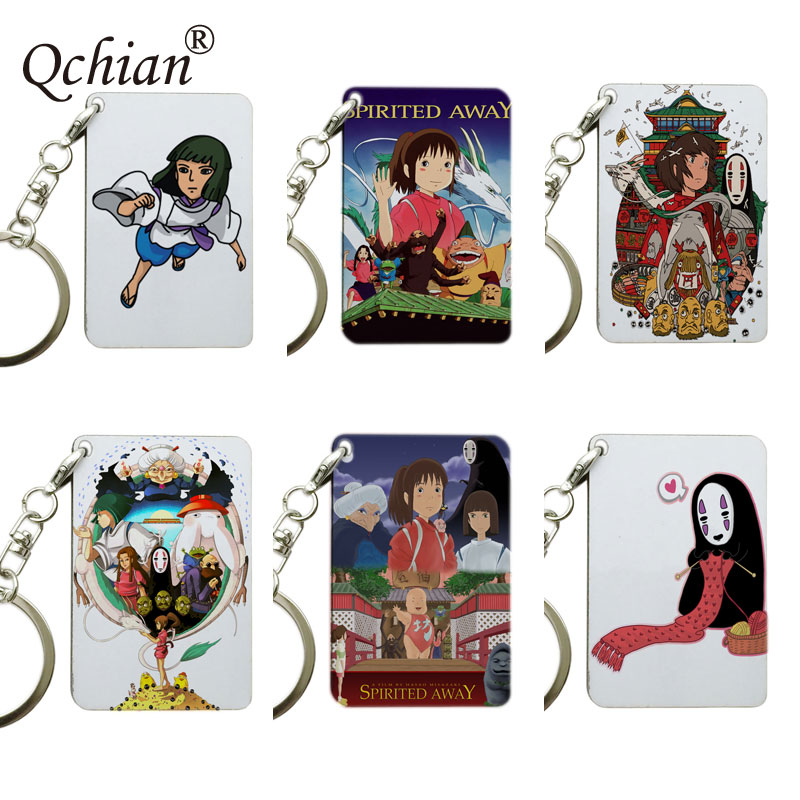 Spirited Away Print Keychain ogino chihiro Nigihayami Kohakunushi No Face man  Print Key Chain for Men Women