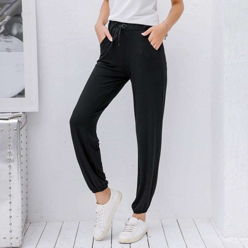 Modal loose type belt harem pants sports wide leg nine pants casual ladies leggings free shipping in Leggings from Women 39 s Clothing